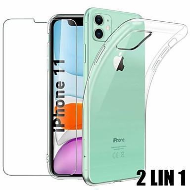 voordelige iPhone screenprotectors-2 lin 1 hoesje voor iPhone 11 pro max schermbeschermglas voor iphone x xs max xr 7 8 6 6s plus beschermglas