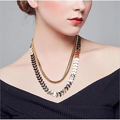 billige Mode Halskæde-Dame Kædehalskæde geometrisk Bladformet Mode Chrome Guld Sølv 55 cm Halskæder Smykker 1pc Til Daglig Arbejde