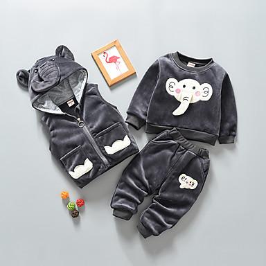 povoljno Odjeća za bebe Za dječake-Dijete Dječaci Osnovni Jednobojni Dugih rukava Regularna Normalne dužine Komplet odjeće Crn