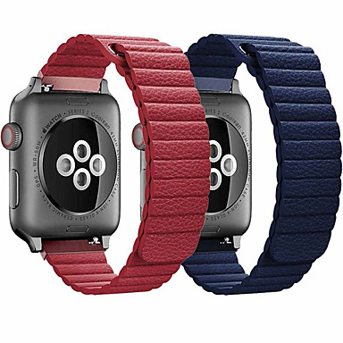 cheap Apple Watch Bands-Genuine Leather loop strap for apple watch band 44mm 40mm 42mm 38mm Leather Magnetic loop bracelet iwatch 5 4 3 2 Accessories