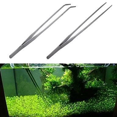 tanie Akwaria i akcesoria dla rybek-szczypce do akwarium ze stali nierdzewnej szczypce szczypce rośliny pinceta kleszcze klip akwarium