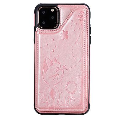 voordelige iPhone 6 Plus hoesjes-hoesje Voor Apple iPhone 11 / iPhone 11 Pro / iPhone 11 Pro Max Schokbestendig / Reliëfopdruk Achterkant Kat / dier PU-nahka