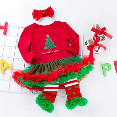 رخيصةأون ملابس الرضع-فستان كم طويل طباعة / عيد الميلاد رياضي Active للفتيات طفل / طفل صغير
