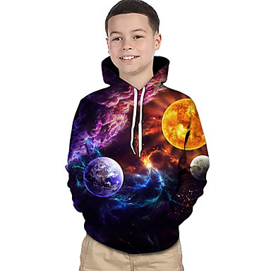 cheap Kids' New Arrivals-Kids Toddler Boys' Active Basic Rubik's Cube Geometric Galaxy Color Block Print Long Sleeve Hoodie & Sweatshirt Rainbow