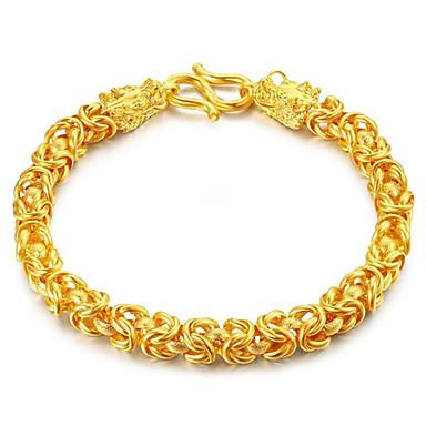 رخيصةأون أساور-رجالي نسائي أساور السلسلة والوصلة هندسي تنين موضة سبيكة مجوهرات سوار ذهبي من أجل هدية مناسب للبس اليومي
