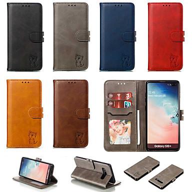 hoesje Voor Samsung Galaxy S9 / S9 Plus / S8 Plus Portemonnee / Kaarthouder / met standaard Achterkant / Volledig hoesje Effen / Kat PU-nahka