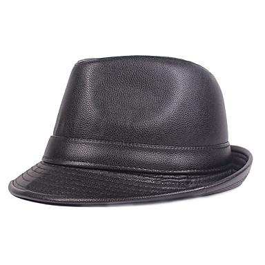 voordelige Herenaccessoires-Heren Standaard PU,Effen Vissershoed Fedora hoed-Herfst Winter Zwart Bruin