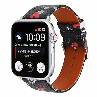 voordelige Smartwatch-accessoires-horlogeband voor Apple Watch-serie 5/4/3/2/1 Apple Classic gesp gewatteerde pu lederen polsband