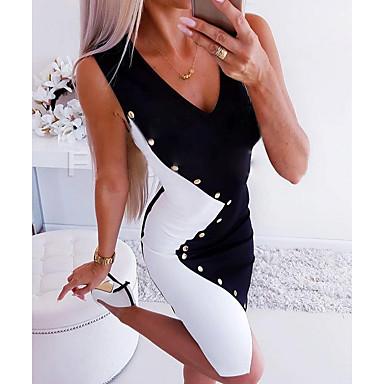 povoljno Mini suknje-Žene Crn Haljina Ljeto Party Dnevni Nosite Bodycon Crno-bijeli Color block Kolaž Potkošulja Duboki V Dugme blok boja S M