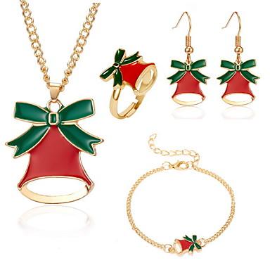 رخيصةأون أطقم المجوهرات-نسائي أقراط قطرة عقد أسورة Bell الأقراط مجوهرات ذهبي من أجل عيد الميلاد 4 / خاتم