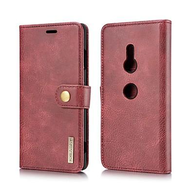 Недорогие Чехлы и кейсы для Sony-Кейс для Назначение Sony Sony Xperia 10 / Xperia XZ2 / Xperia XZ2 Compact Кошелек / Бумажник для карт / со стендом Чехол Однотонный Настоящая кожа