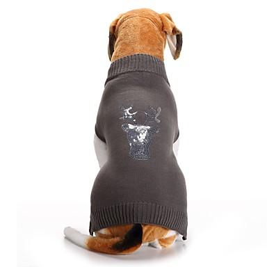 povoljno Odjeća za psa i dodaci-Psi Puloveri Zima Odjeća za psa Sive boje Kostim korgi Bigl Shiba Inu Akril vlakna Šljokice Jelen Ležerno / za svaki dan Božić XXS XS S M L XL