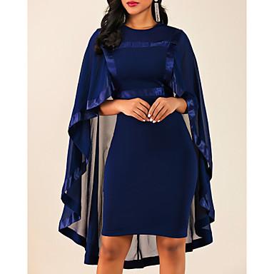 povoljno Ženske haljine-Žene Kentucky Derby Veći konfekcijski brojevi Lila-roza Crn Haljina Elegantno Za majku Koktel zabava Izlasci Korice Jednobojni Uski okrugli izrez Zamotajte S M