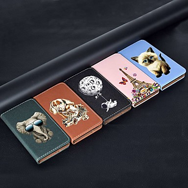 voordelige iPhone-hoesjes-hoesje Voor Apple iPhone 11 / iPhone 11 Pro / iPhone 11 Pro Max Portemonnee / Kaarthouder / met standaard Volledig hoesje Kat / Eiffeltoren PU-nahka / TPU