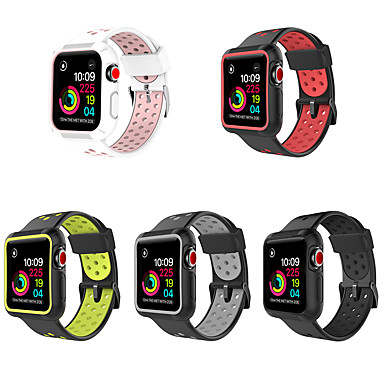 voordelige Apple Watch Cases met band-pc-hoes met siliconenband voor Apple Watch-serie 5/4/3/2/1