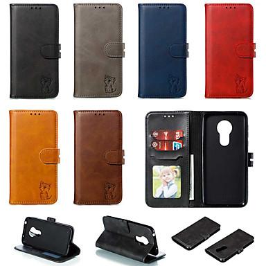 Недорогие Чехлы и кейсы для Motorola-Кейс для Назначение Motorola MOTO G6 / Moto G6 Plus / Moto G7 Play Кошелек / Бумажник для карт / со стендом Чехол Однотонный / Кот Кожа PU