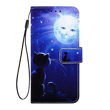 voordelige Galaxy A-serie hoesjes / covers-hoesje Voor Samsung Galaxy Galaxy A7(2018) / Galaxy A10 (2019) / Galaxy A30 (2019) Portemonnee / Kaarthouder / met standaard Volledig hoesje Kat PU-nahka