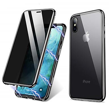 Недорогие Кейсы для iPhone X-магнитный двухсторонний чехол для яблока iphone xs max / iphone x / iphone se (2020) прозрачный чехол для всего тела сплошное цветное закаленное антискользящее стекло