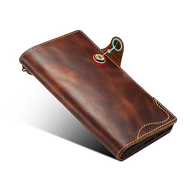 Недорогие Чехлы и кейсы для Galaxy Note-Кейс для Назначение SSamsung Galaxy S9 / S9 Plus / S8 Бумажник для карт Чехол Однотонный Настоящая кожа