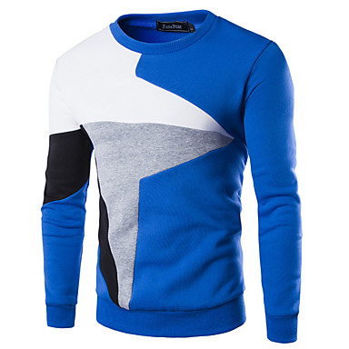 cheap Men's Sweaters & Cardigans-Men's Color Block Long Sleeve Pullover Sweater Jumper, Round Black / Light gray / Blue US34 / UK34 / EU42 / US36 / UK36 / EU44