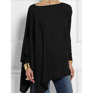 cheap Blouses & Shirts-Women's Daily T-shirt Solid Colored Long Sleeve Tops Black Brown Navy Blue