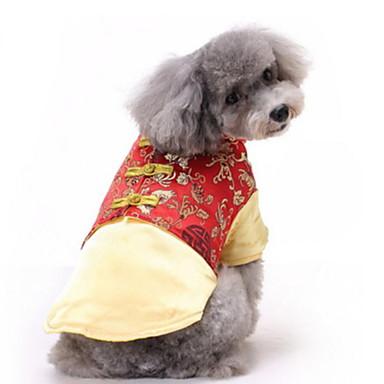 رخيصةأون ملابس وإكسسوارات الكلاب-كلاب قطط حيوانات أليفة المعاطف ملابس السهرة للرجال سترة الشتاء ملابس الكلاب أسود ذهبي أحمر كوستيوم كلب كبير بوليستر كلاسيكي رأس السنة XS S M L XL