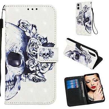 Недорогие Кейсы для iPhone 6-Кейс для Назначение Apple iPhone 11 / iPhone 11 Pro / iPhone 11 Pro Max Кошелек / Бумажник для карт / Флип Чехол Черепа Кожа PU