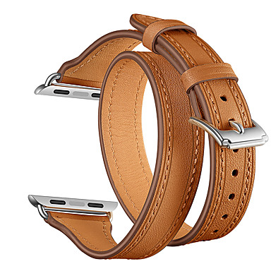 voordelige Smartwatch-accessoires-horlogeband voor Apple Watch-serie 5/4/3/2/1 Apple sportband / klassieke gesp / moderne gesp lederen polsband slanke dubbele band