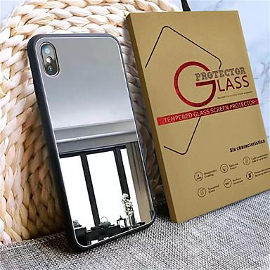 Недорогие Кейсы для iPhone 7 Plus-чехол с защитой экрана для яблока iphone 11/11 pro / 11 pro max пыленепроницаемый / задняя крышка зеркала сплошное тпу / акрил / закаленное стекло для iphone 7/7 p / 8/8 p / 6/6 plus / x / xs / xr /