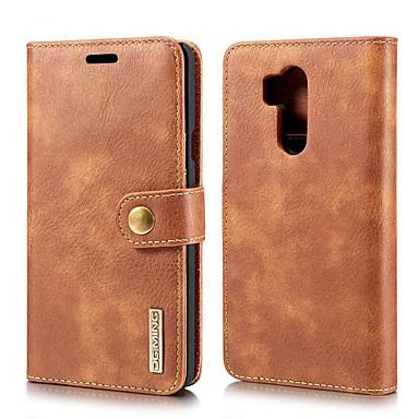 رخيصةأون LG أغطية / كفرات-غطاء من أجل LG LG V30 / LG V30+ / LG V20 محفظة / حامل البطاقات / مع حامل غطاء كامل للجسم لون سادة جلد أصلي