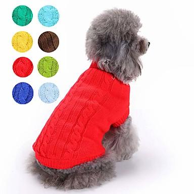 رخيصةأون ملابس وإكسسوارات الكلاب-قط كلب البلوزات الشتاء ملابس الكلاب بني أزرق فاتح أصفر كوستيوم هاسكي لابرادور المسترد الذهبي قطن لون سادة كلاسيكي الدفء XS S M L