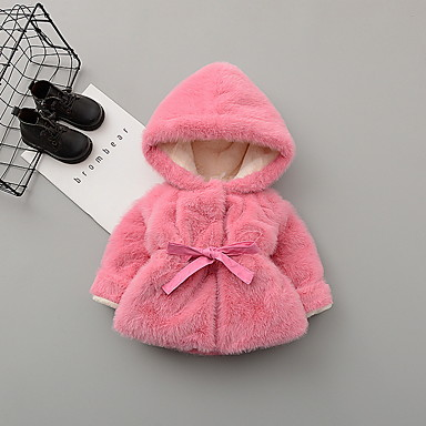 cheap Baby & Toddler Girl-Baby Girls' Street chic Solid Colored Jacket & Coat Blushing Pink