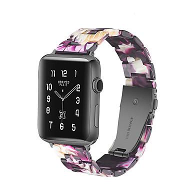 voordelige Smartwatch-accessoires-horlogeband voor Apple Watch-serie 5/4/3/2/1 appelvlindersluiting siliconen / houten polsband