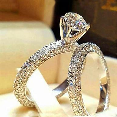 povoljno Prstenje-Žene Prsten Kubični Zirconia 1pc Obala Srebro Platinum Plated Legura Stilski Dnevno Jewelry Slatko