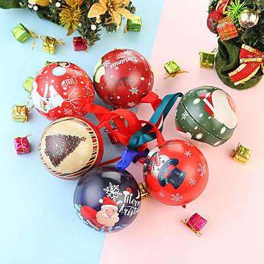 povoljno Dekoracija doma-6pcs božićni bomboni mogu limarirati okrugle kutije kuglice galaksija gmaz santa stablo viseće ukrase božićni poklon