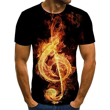 저렴한 남성 티셔츠&탱크 탑-남성용 3D / 그래픽 / 문자 주름장식 / 프린트 - 티셔츠, 스트리트 쉬크 / 과장된 루비