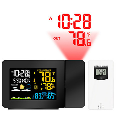 cheap Clocks-Wireless Color Weather Station (Dark Theme) with Temperature Alerts