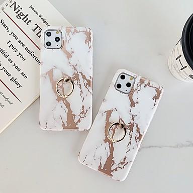 voordelige iPhone-hoesjes-hoesje Voor Apple iPhone 11 / iPhone 11 Pro / iPhone 11 Pro Max Beplating / Ringhouder / IMD Achterkant Marmer TPU