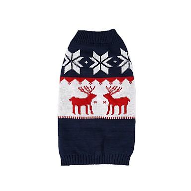 كلاب البلوزات الشتاء ملابس الكلاب أزرق داكن كوستيوم فصيل كورجي كلب صيد شبعا اينو الاكريليك وألياف عيد الميلاد الرنة كاجوال / يومي عيد الميلاد XS S M L