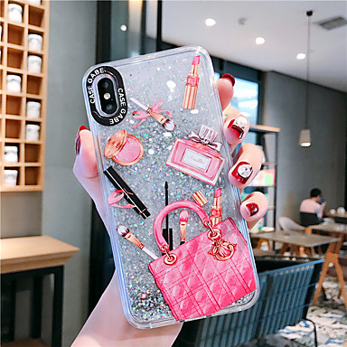 voordelige iPhone 6 Plus hoesjes-hoesje Voor Apple iPhone XS / iPhone XR / iPhone XS Max Stromende vloeistof / Patroon / Glitterglans Achterkant Sexy dame PC
