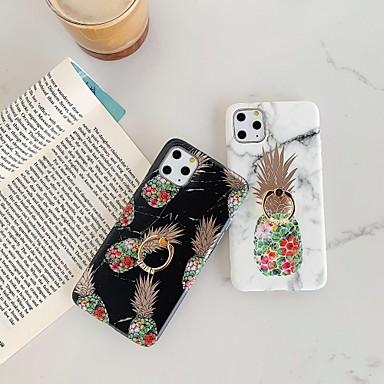 voordelige iPhone-hoesjes-hoesje Voor Apple iPhone 11 / iPhone 11 Pro / iPhone 11 Pro Max Beplating / Ringhouder / IMD Achterkant Voedsel / Marmer TPU