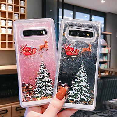 Недорогие Чехлы и кейсы для Galaxy Note-Кейс для Назначение SSamsung Galaxy S9 / S9 Plus / S8 Plus Движущаяся жидкость / Прозрачный / С узором Кейс на заднюю панель Рождество ТПУ