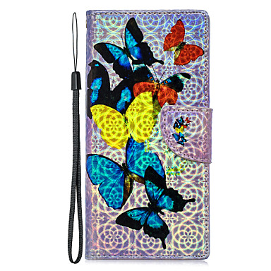 Недорогие Чехлы и кейсы для Galaxy А-Кейс для Назначение SSamsung Galaxy S9 / S9 Plus / S8 Plus Кошелек / Бумажник для карт / со стендом Чехол Бабочка Кожа PU
