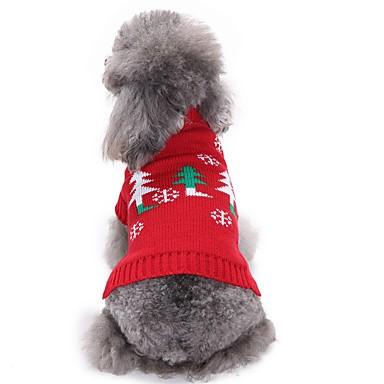 رخيصةأون ملابس وإكسسوارات الكلاب-كلاب البلوزات الشتاء ملابس الكلاب أحمر كوستيوم فصيل كورجي كلب صيد شبعا اينو الاكريليك وألياف الأزهار النباتية عيد الميلاد كاجوال / يومي عيد الميلاد XS S M L XL XXL