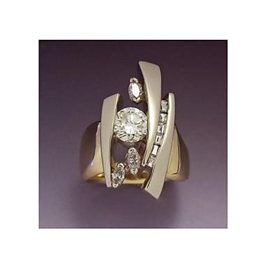 رخيصةأون خواتم-نسائي خاتم 1PC ذهبي نحاس تقليد الماس Geometric Shape موضة هدية مناسب للبس اليومي مجوهرات هندسي نجمة كوول