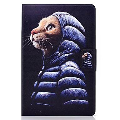 رخيصةأون أغطية أيباد-غطاء من أجل Apple iPad Air / iPad 4/3/2 / iPad (2018) حامل البطاقات / مع حامل / نموذج غطاء كامل للجسم قطة جلد PU / TPU