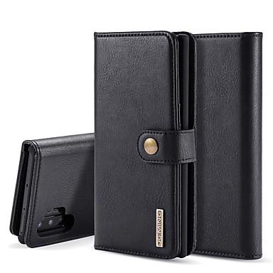 Недорогие Чехлы и кейсы для Galaxy Note-Кейс для Назначение SSamsung Galaxy Note 9 / Note 8 / Galaxy Note 10 Кошелек / Бумажник для карт / со стендом Чехол Однотонный Настоящая кожа
