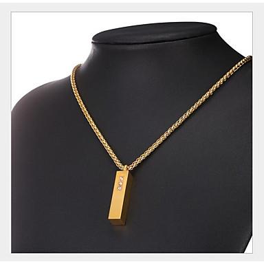 رخيصةأون القلائد-رجالي نسائي مكعب زركونيا قلائد الحلي هندسي عمودي موضة نحاس ذهبي فضي 50 cm قلادة مجوهرات 1PC من أجل هدية مناسب للبس اليومي
