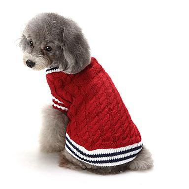 رخيصةأون ملابس وإكسسوارات الكلاب-كلاب البلوزات الشتاء ملابس الكلاب أحمر أزرق كوستيوم فصيل كورجي كلب صيد شبعا اينو الاكريليك وألياف لون سادة كاجوال / يومي بريطاني XS S M L XL XXL