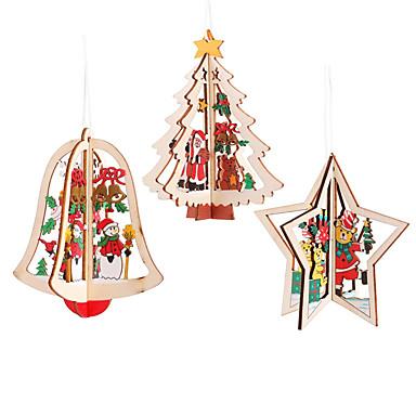 رخيصةأون تزيين المنزل-3 قطعة شجرة عيد الميلاد المعلقات زخرفة حزب 3d عالية الجودة الخشب المعلقات لون الديكور